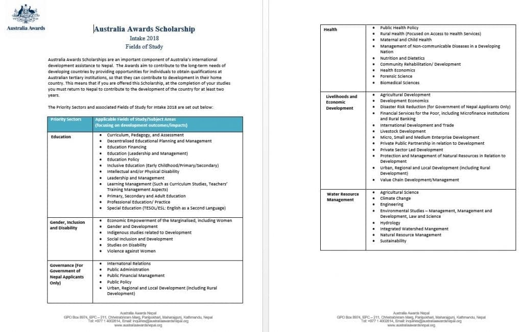 Australia scholarships for Nepalese Australia awards ...