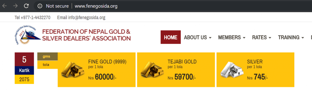 nepal gold rate today