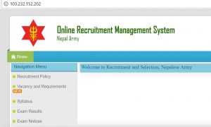 nepal army online recruitment management system
