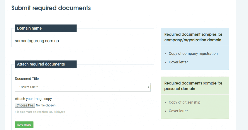 documents required for .com.np domain registration