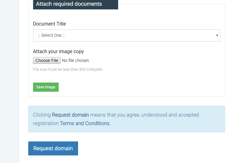 documents for official domain registration