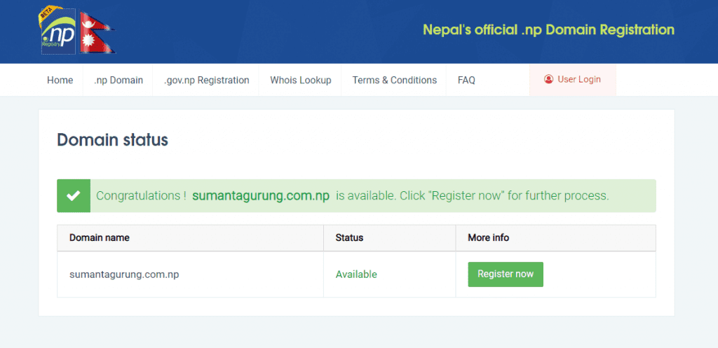 Register .com.np domain for free