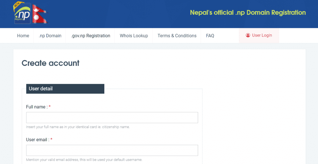 official domain registration nepal
