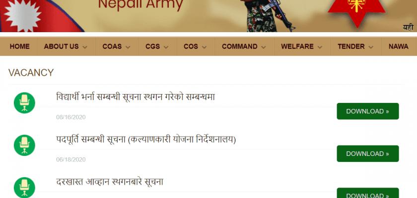 nepal army jobs